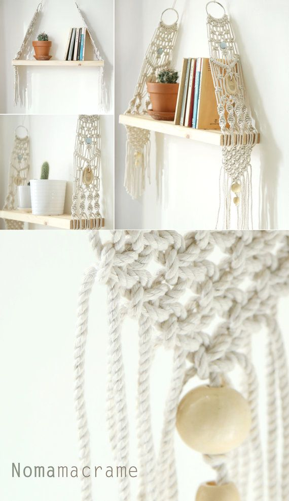 Macrame Wall Hanging Shelf Shelf Modern Macrame by ...