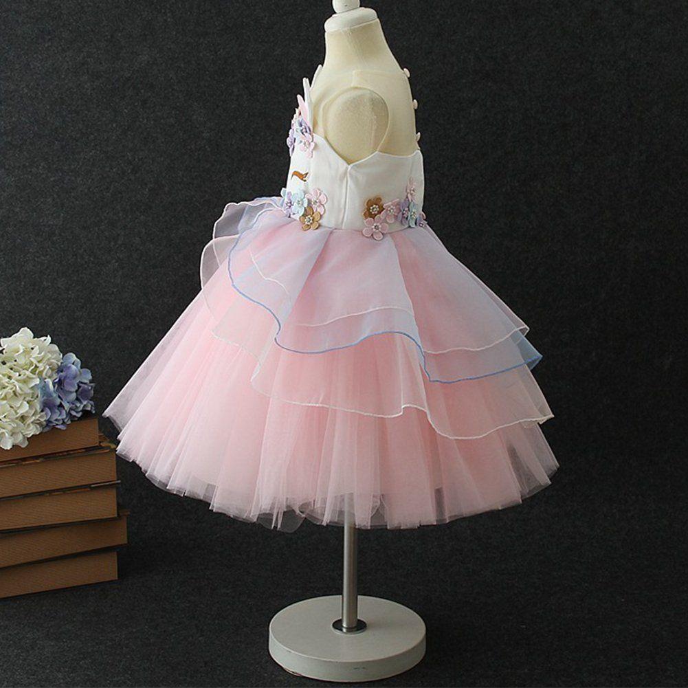 de7e5bae6 Girls Unicorn Tutu Dress Horn Headband Toddler Halloween Costume Birthday  Party Gifts for Girls Kids Fancy Dress up Cosplay Pink 56 Years >>> To  watch ...