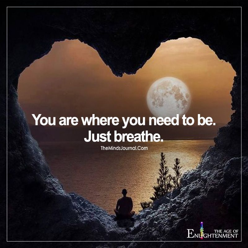 You Are Where You Need To Be