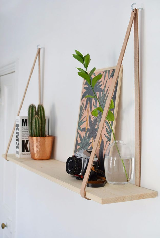 Best DIY Room Decor Ideas For Teens And Teenagers   DIY Easy Leather Strap  Hanging Shelf