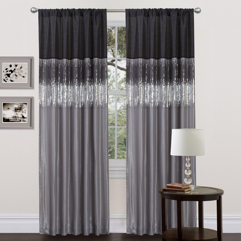 Amazon.com - Lush Decor Night Sky Curtain Panel, Black/Gray - Sequin ... for Black Drapes For Bedroom  54lyp