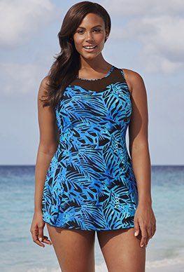 9d3d37ffb8fbc One Piece Swimsuits. Plus Size Swimdress - Beach Belle Spruce Mesh Swimdress