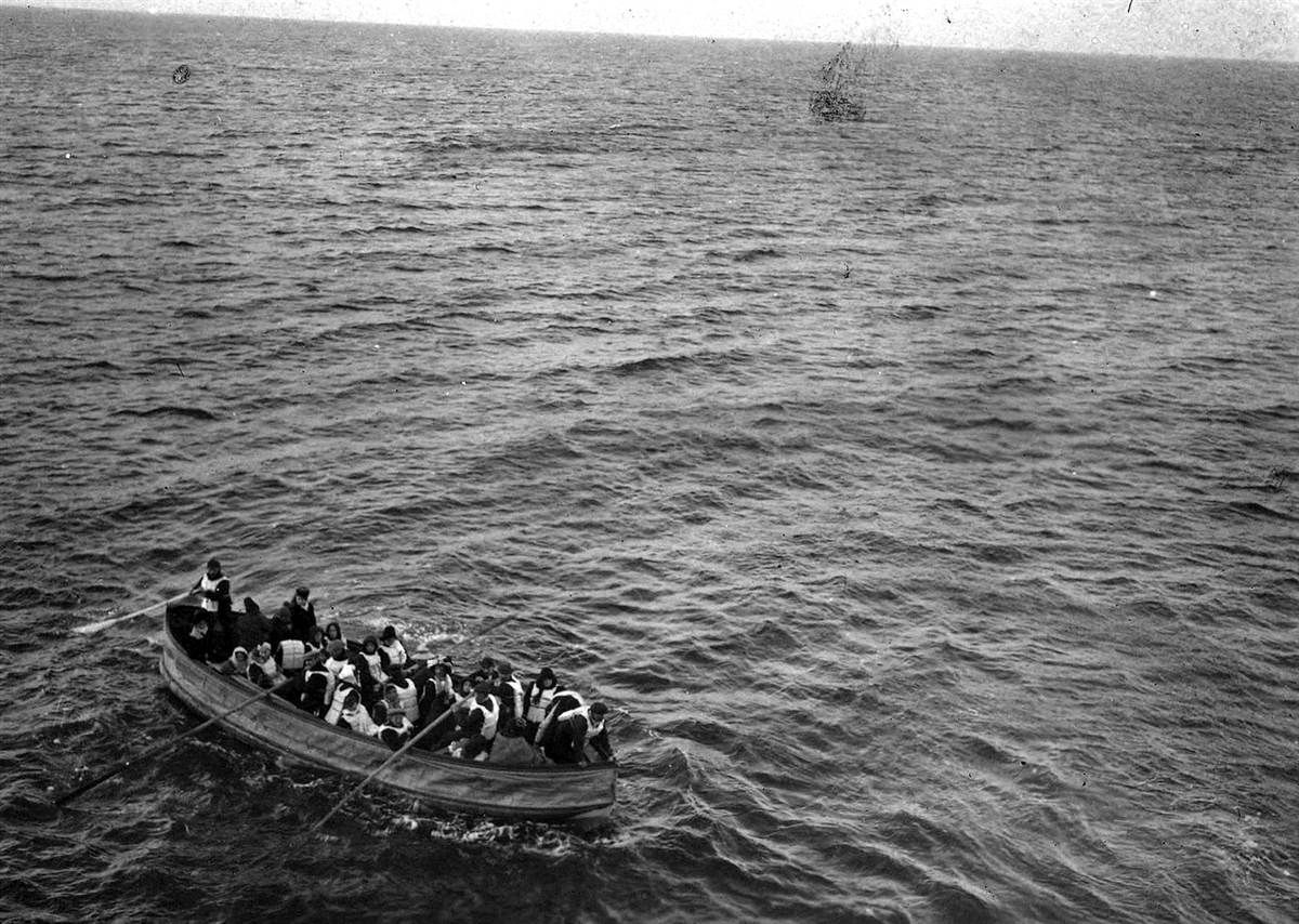 Saved  Survivors of the sinking of the RMS Titanic approach the RMS Carpathia in this April 15, 1912, photo. The Carpathia rescued hundreds of Titanic passengers.