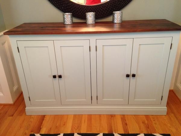 White Sideboard Buffet Cabinet Diy Wood Top Country Pretty Doors Nice Two Tone Ana