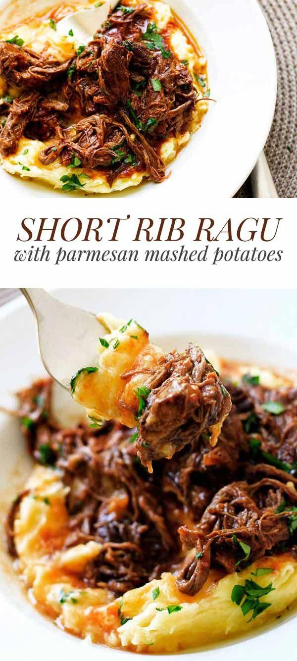 This hearty short rib ragu is the ultimate comfort food! It's rich with a velvety sauce and perfect over mashed potatoes, pasta or rice #beef #shortribs #comfortfood #dinner #recipes #cooking #potatoes