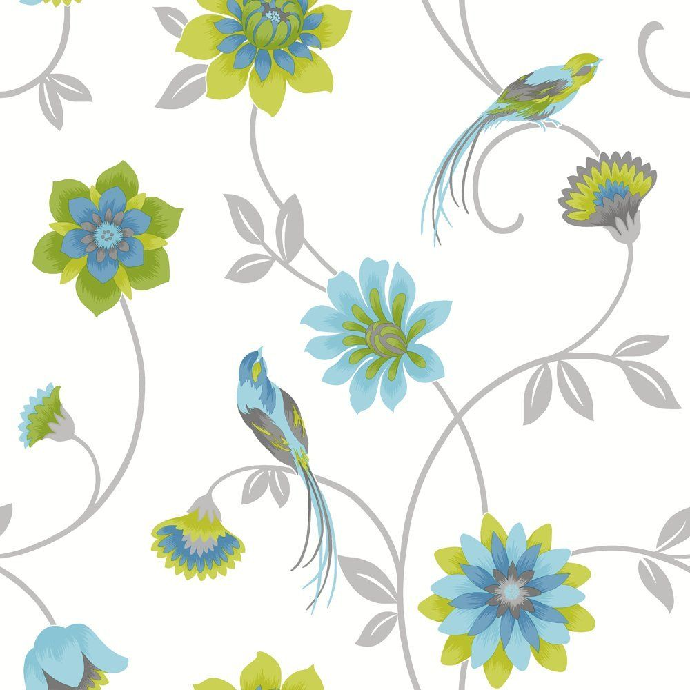 Designer Floral Birds Wallpaper White, Green And Blue