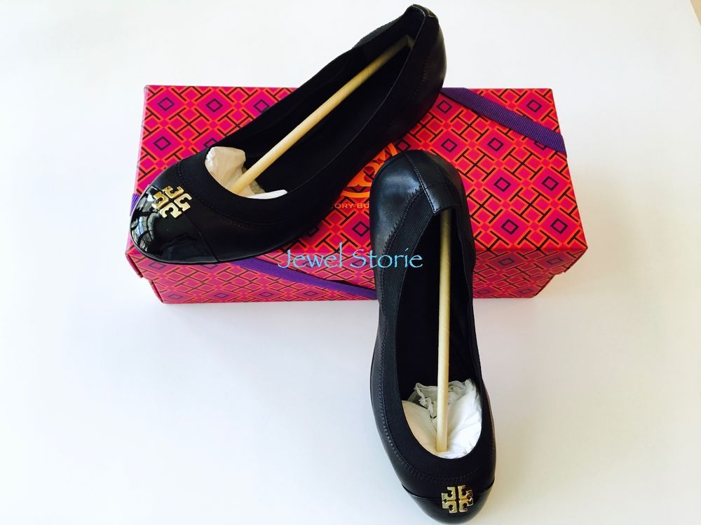 8d8359bef74f06 NEW Authentic Tory Burch Jolie Ballet Flat Shoes Black Leather Double-T  Logo  ToryBurch  BalletFlats  WeartoWorkCasualClubwear