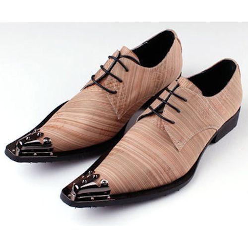 Designer Russet Stripe Pointy Modern Vintage Rockabilly Shoes Men  SKU-1100325