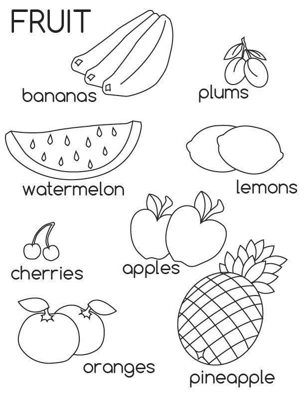 Free Printable Fruit Coloring Pages For Kids Fruit Coloring Pages Coloring Worksheets For Kindergarten Color Worksheets