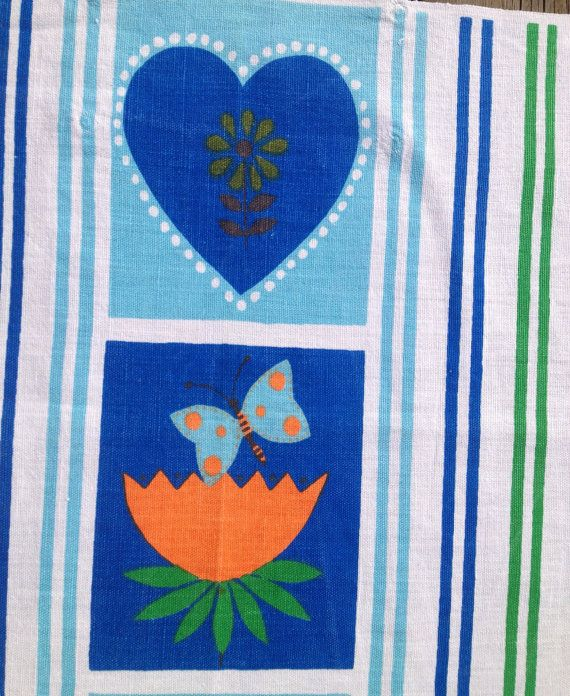 60s Vintage Swedish Retro Kitchen Towel. Designed By Louise Fougstedt For  Almedahls.