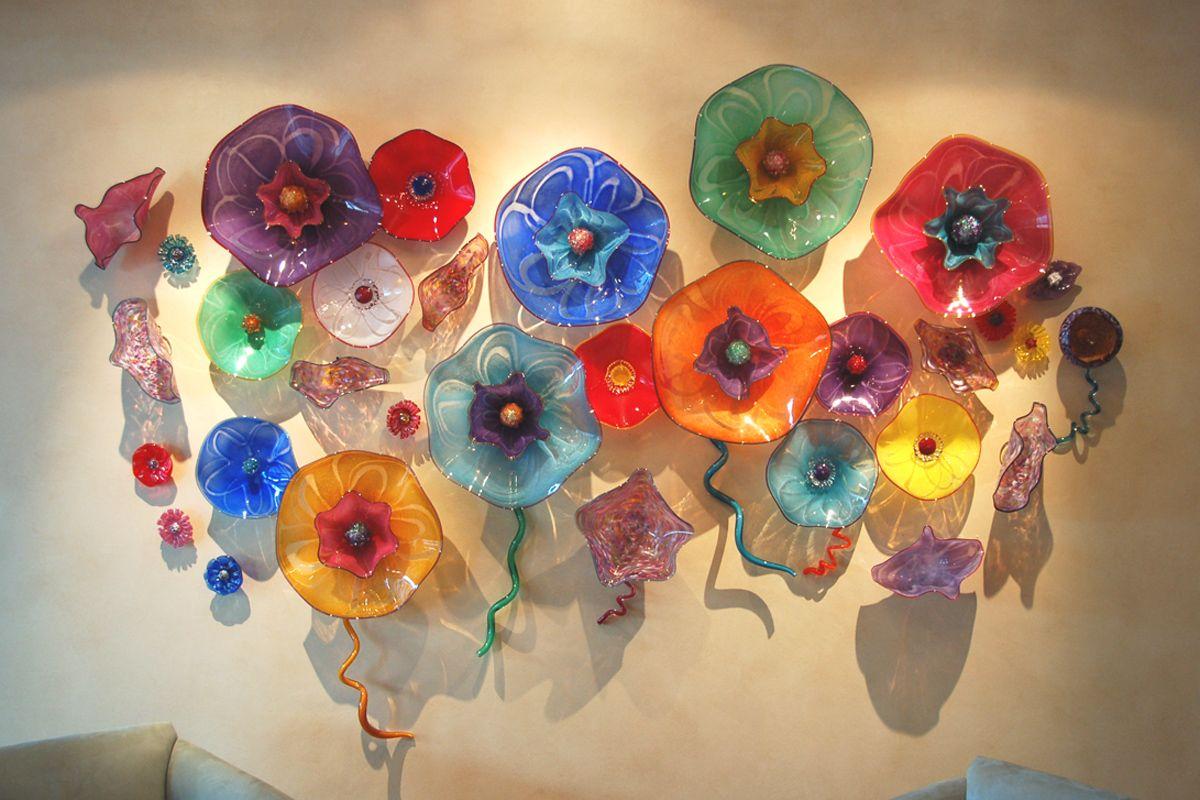 Amazing Glass Flowers Art Blown Glass Wall Art Glass Wall Art Mirror Wall Art