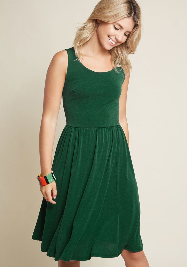 Simple swish knit dress in dark green stuff for tiff pinterest