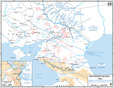 Map showing the Gariboldi ARMIR near the Don river, 200 km north of ...