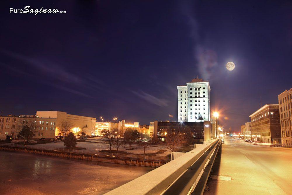 Moon Rise Over Downtown Saginaw Pure Saginaw Saginaw Saginaw Michigan Downtown