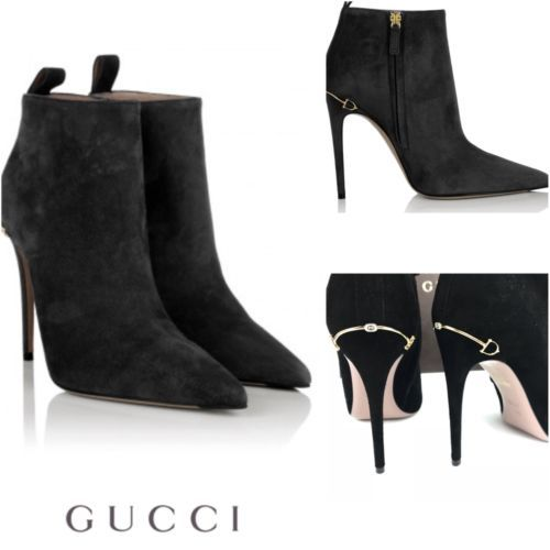 ea6fd62bf21 RRP Â710 BN GUCCI Leather Kid Scamosciato Heel Black BootieSize 385 UK 55