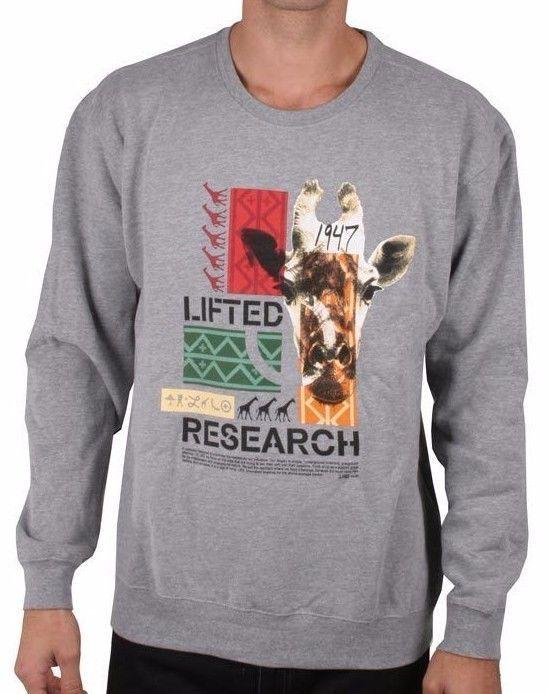 LRG Lifted Research Group Safari Giraffe Men/'s Crew Neck Sweatshirt NWT