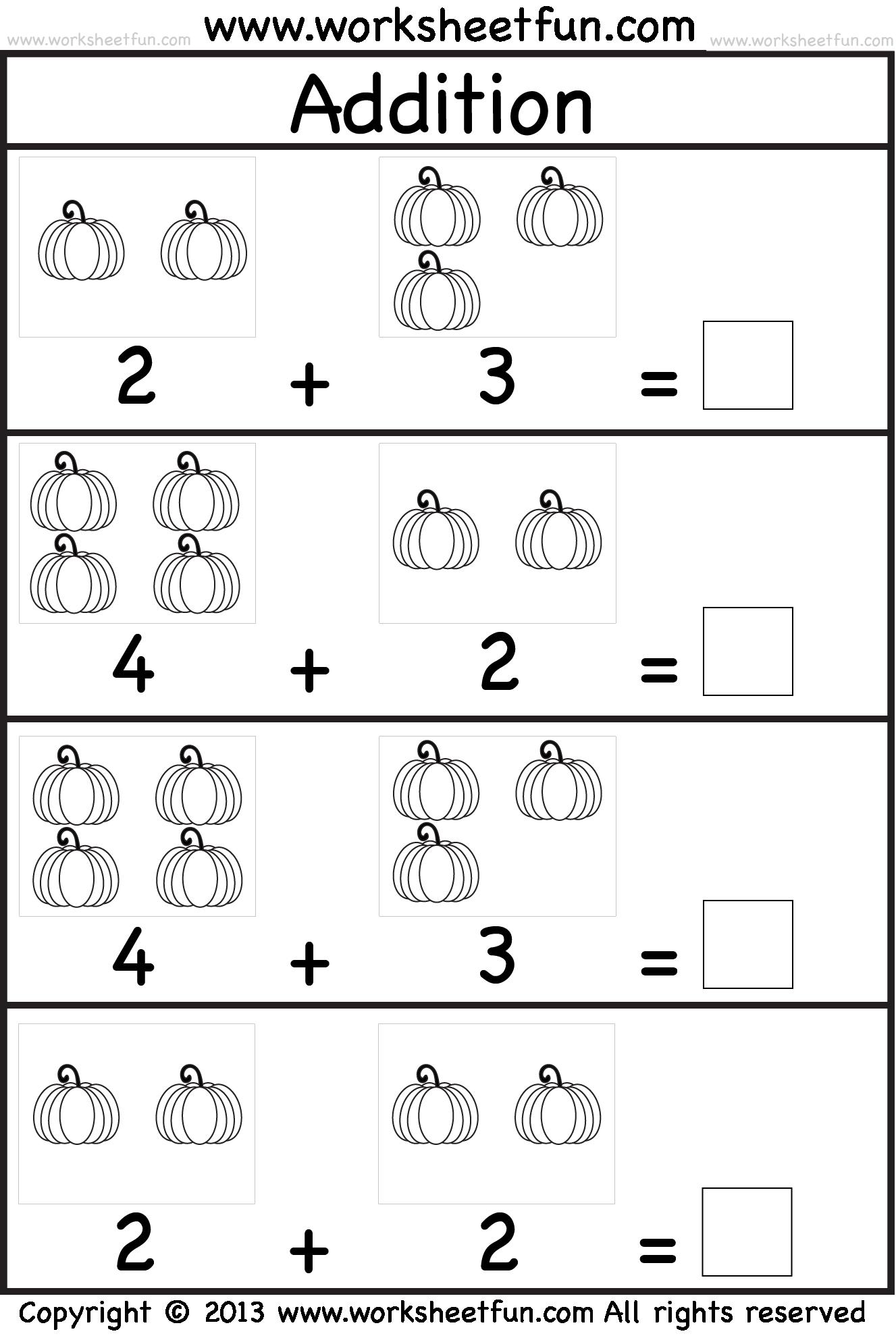 Pumpkin Subtraction Coloring Sheet | Kindergarten addition ...