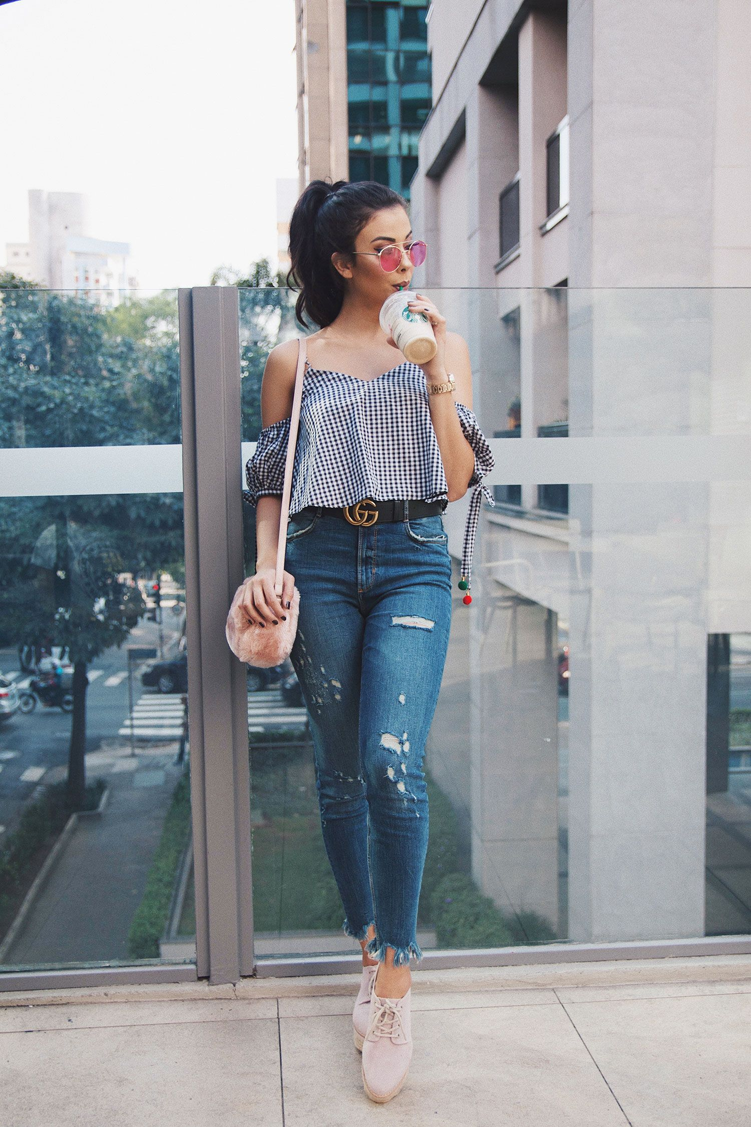 13e48326c3 Look do Dia  Cropped Xadrez Vichy - Look of the Day - Vichy Shirt - Alerta  Fashion  vichy  fashion  girl  jeans