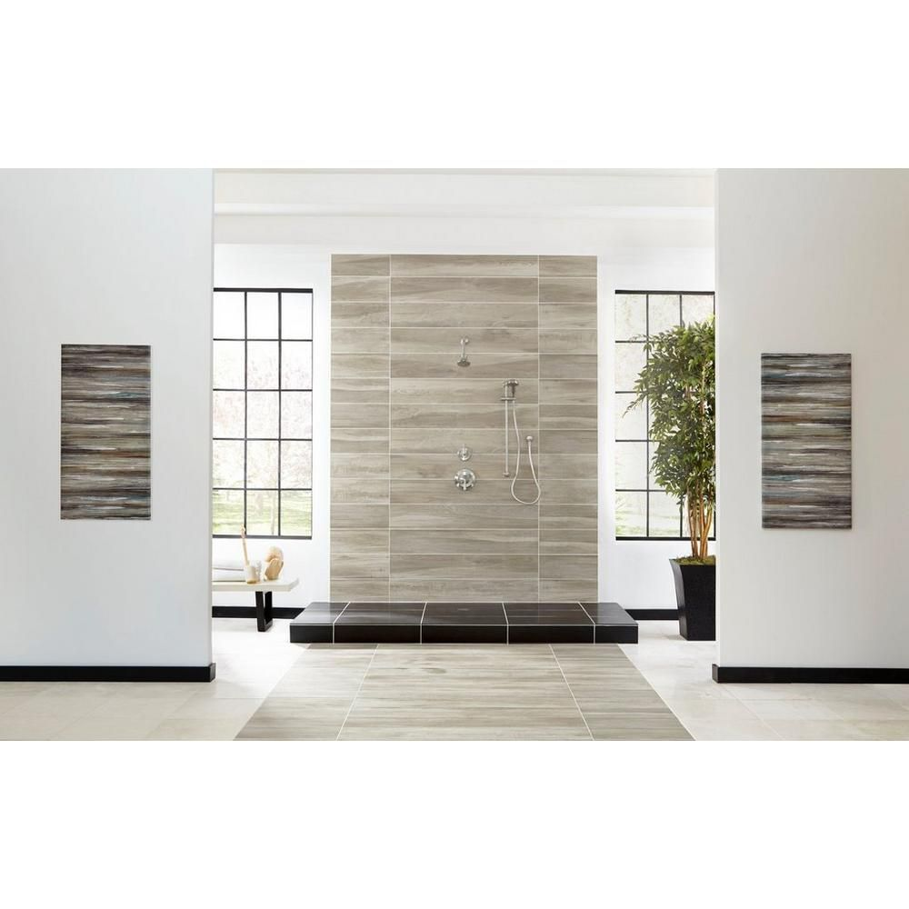 niagara gris wood plank porcelain tile - 10in. x 47in. - 100268986
