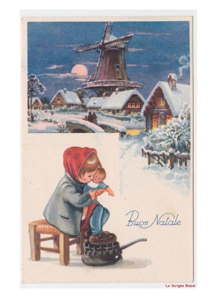 Immagini Invernali Natalizie.Paesaggi Invernali Mulino A Vento Cartolina Natale Vintage