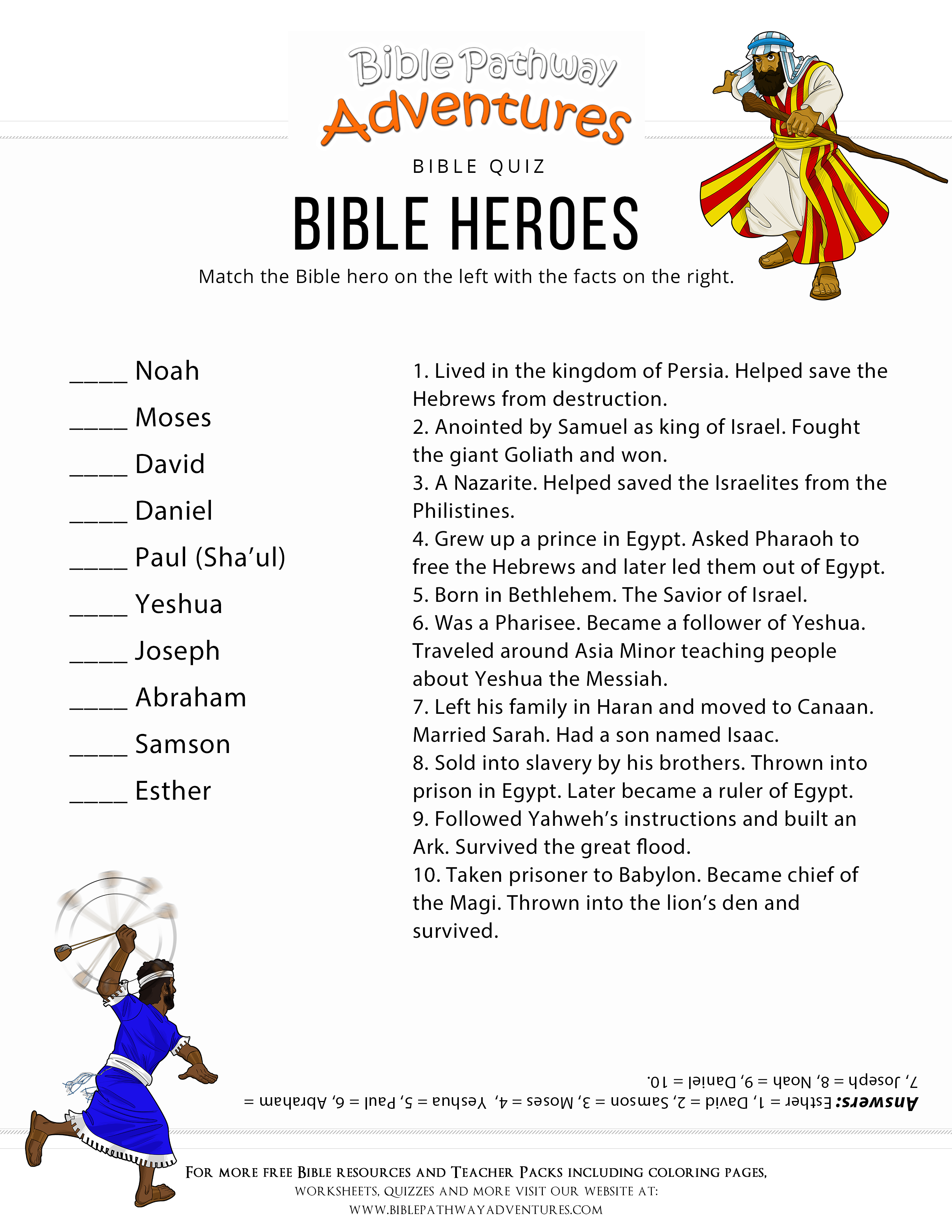Printable Bible Heroes Quiz For Kids With Images
