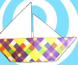 origami sailboat for placecards