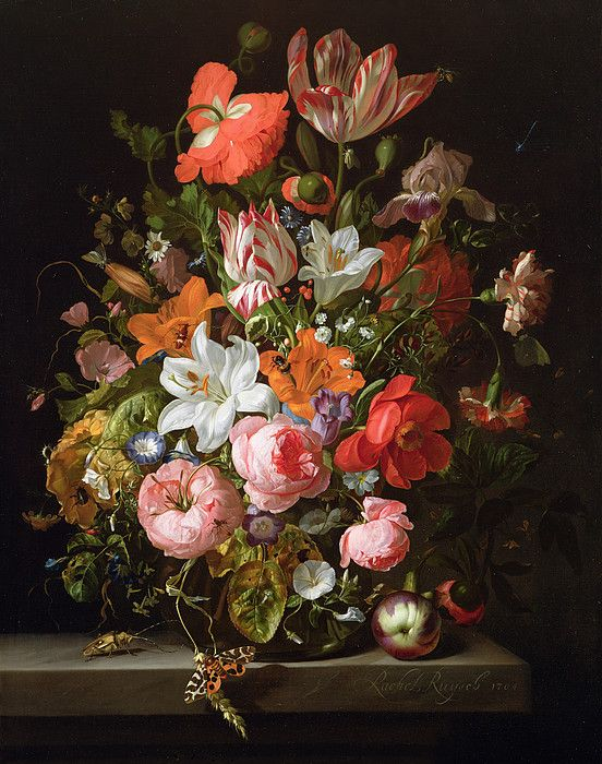 Still Life Of Roses Lilies Tulips And Other Flowers In A Glass Vase With A Brindled Beauty By Rachel Ruysch Flower Painting Floral Painting Flower Art