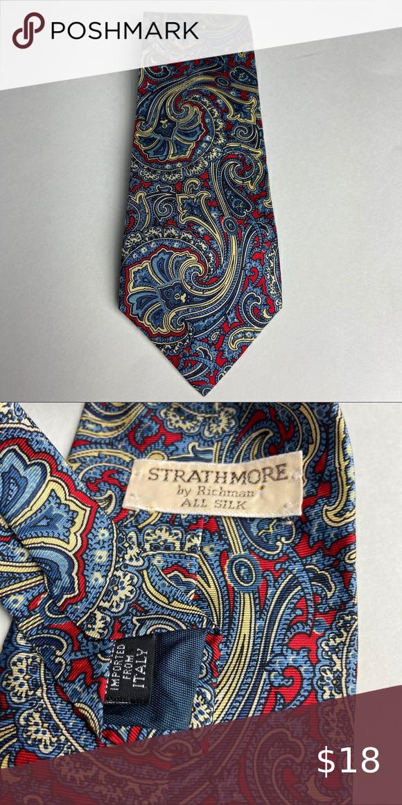 Vintage Strathmore Designer Red Paisley Silk Italy Paisley Strathmore Vintage Accessories
