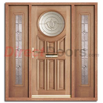 Marvelous Image Of Sandown Exterior Hardwood Door And Frame Set With Two Side Screens  And Brass Caming