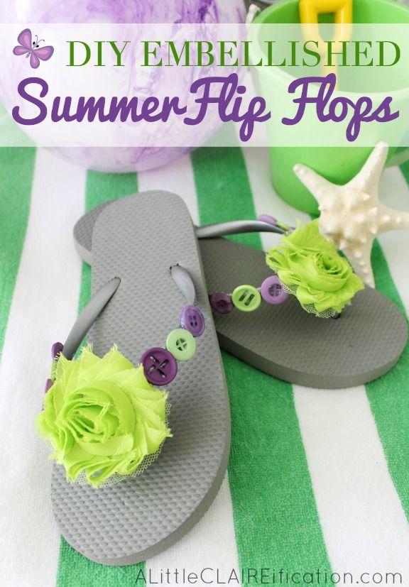 Easy Summer Crafts - DIY Embellished Summer Flip Flops | Chanclas ...