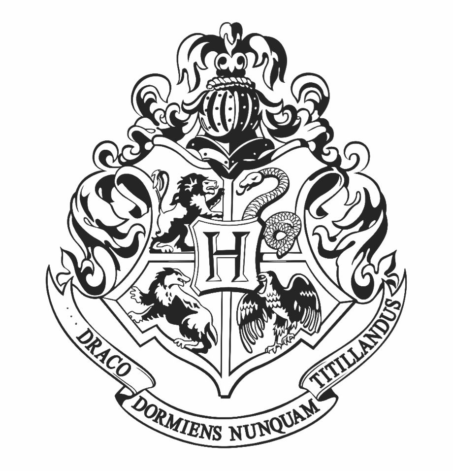 Hogwarts Logo Black And White Png Hogwarts Crest
