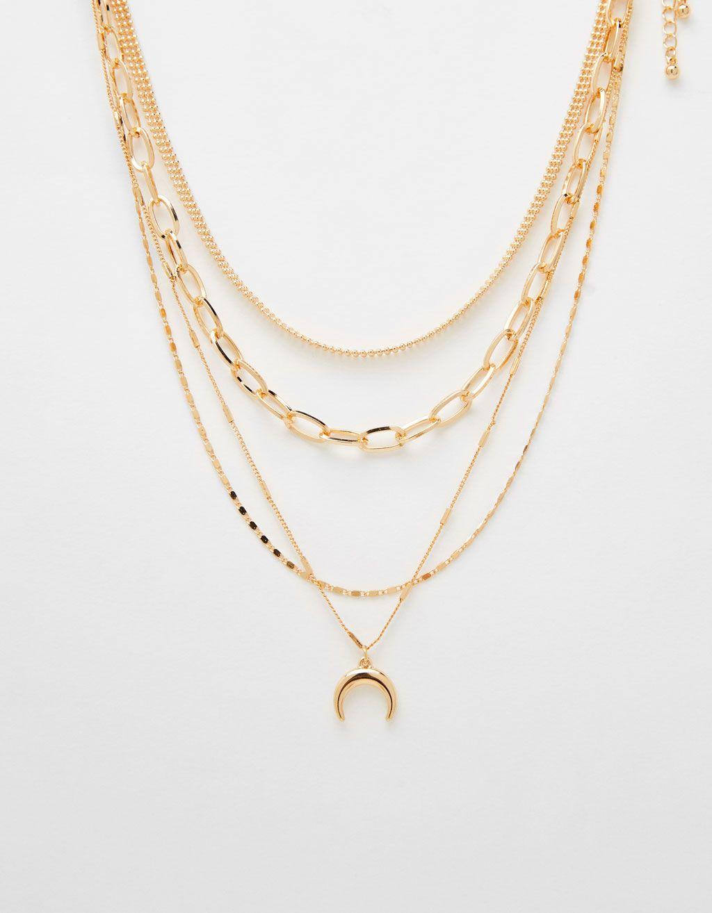 1afc129c9947 Collar multi cadenas con luna en 2019 | Jewelry | Bershka, Cadenas y ...