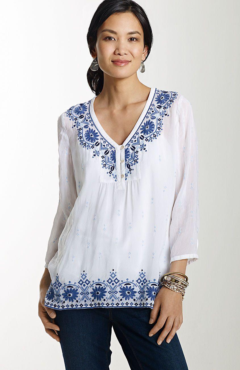 8347bbf3b19354 shirts   tops   embroidered gossamer elliptical-hem tunic at J.Jill ...