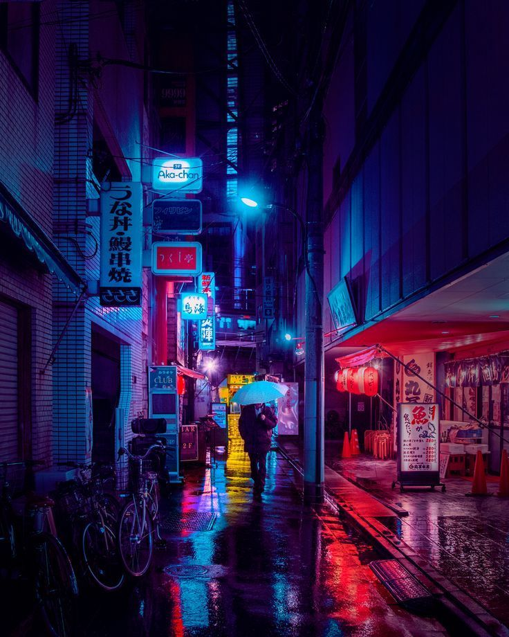 Sleepless City Streets of Rainy Tokyo Nights Lit by