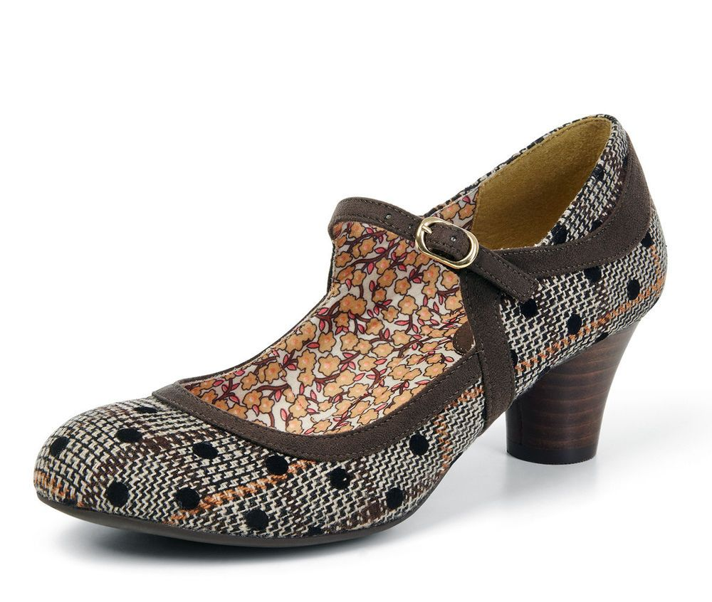 5dadc685d115f Details about Ruby Shoo NEW Lexi brown polka spot tweed mid heel ...