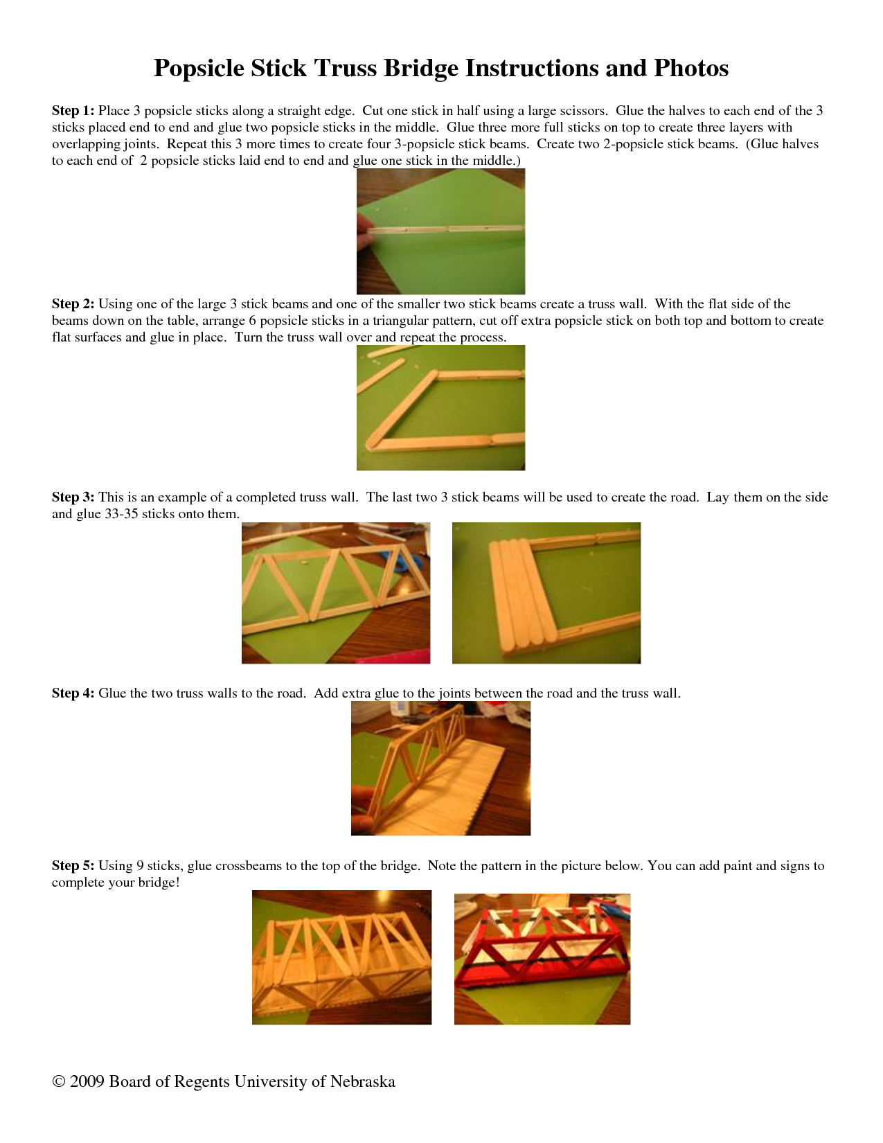 Popsicle Stick Bridge Instructions Popsicle Stick Truss Bridge