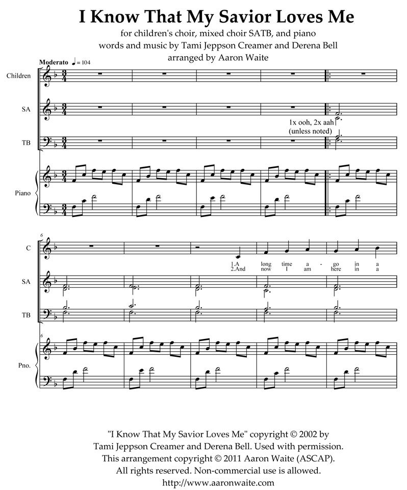 Arrangement Of I Know That My Savior Loves Me Choir Chords Could Be