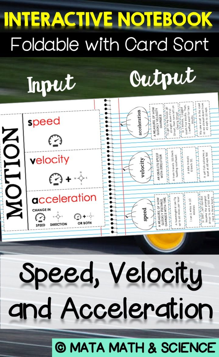 Speed Velocity And Acceleration Foldable Notes And Card Sort For Isn Sorting Cards Science Lessons High School Free Science Worksheets Speed writing changing it up