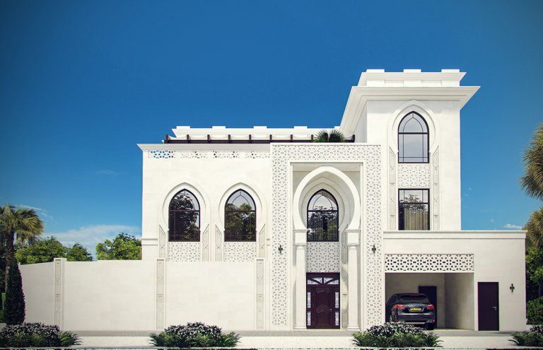White Modern Islamic Villa Exterior Design 7 White Stone With Geometric Patterns Adorn The Modern Islamic Vi Exterior Design Villa Design Exterior House Colors