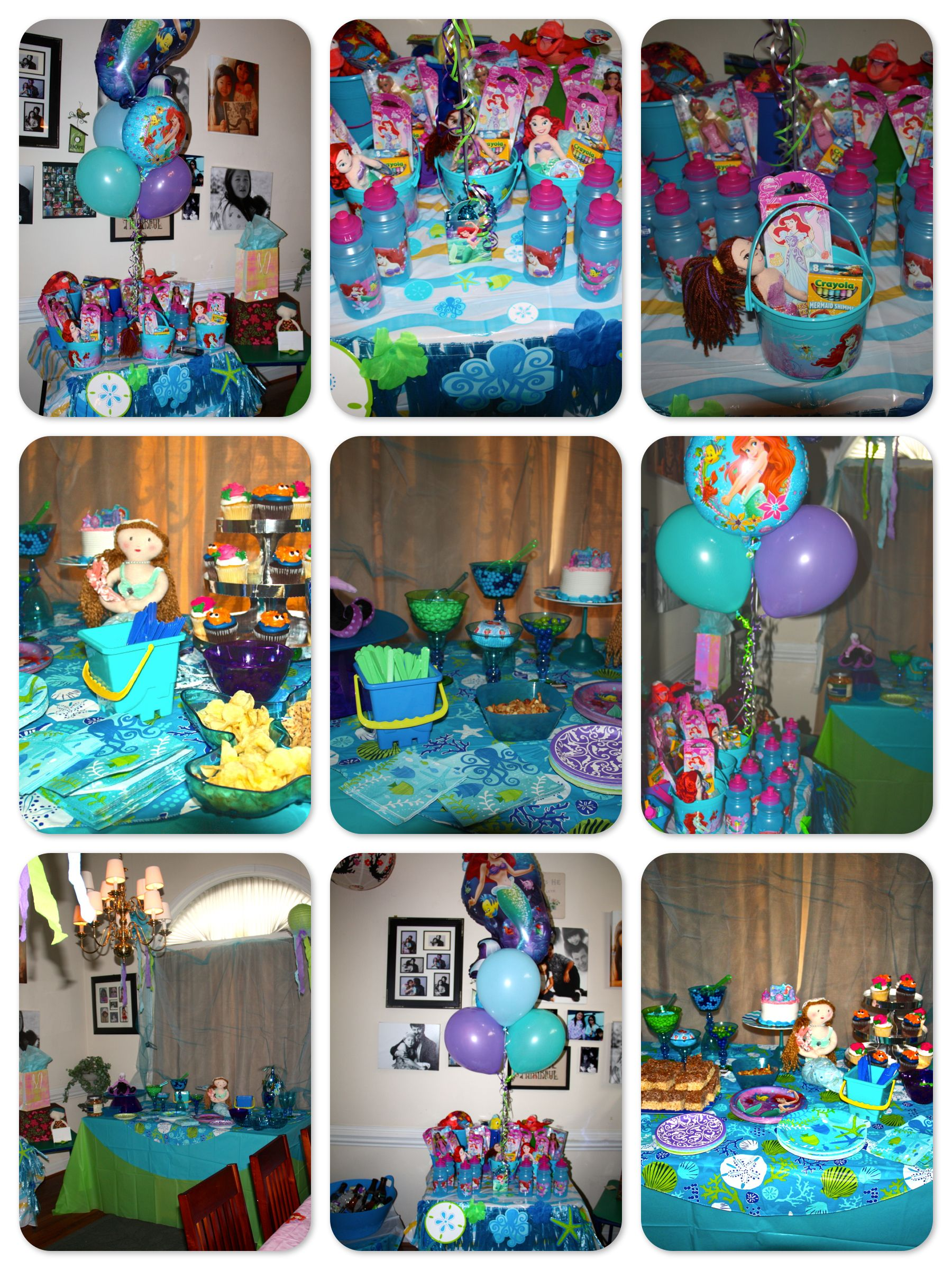 Little mermaid party decor cake table with candy treats for Ariel decoration party