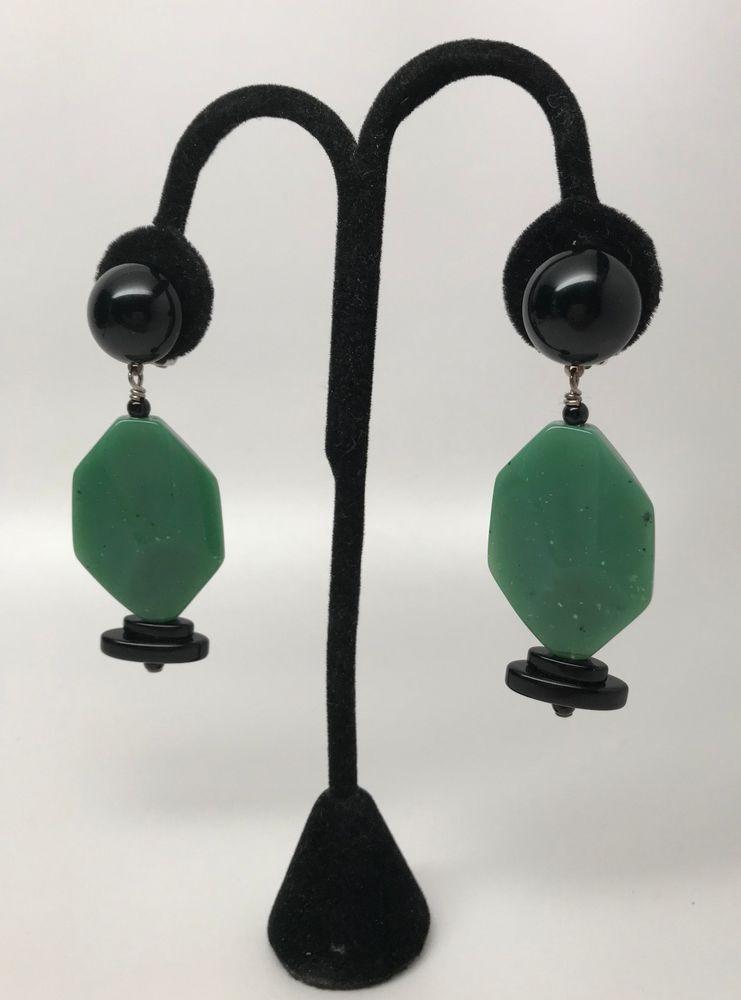 Angela Caputi Italian Designer Art Deco Design Green Resin Earrings ...
