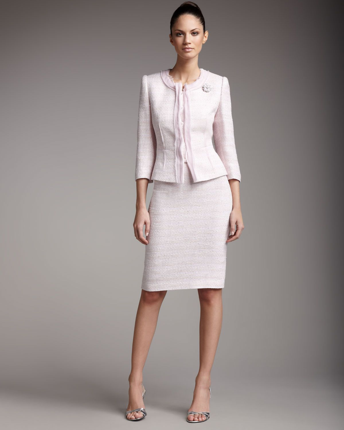 Tahari Fitted Boucle Suit Places To Visit Pinterest Suits