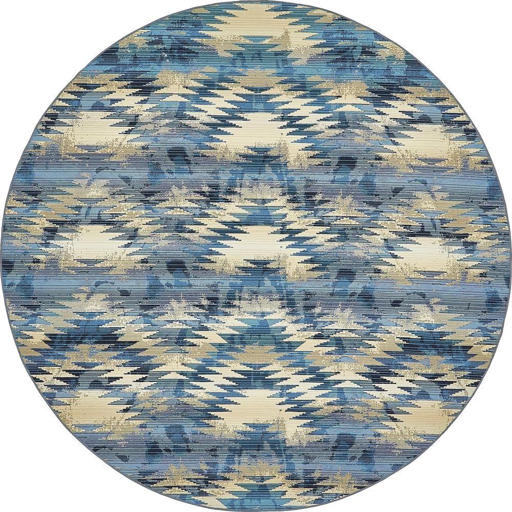 Unique Loom Outdoor Aztec Blue 8 0 X 8 0 Round Rug 3138412