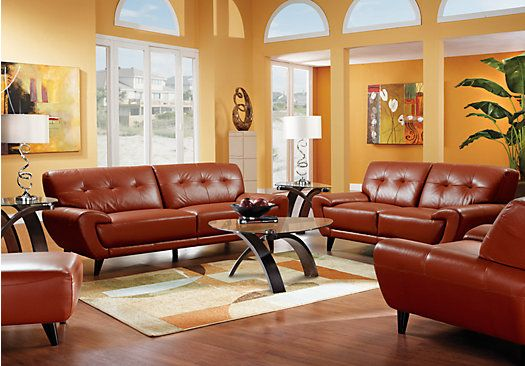 terracotta colour schemes for living rooms home midtown east terracotta leather 5 pc 26906