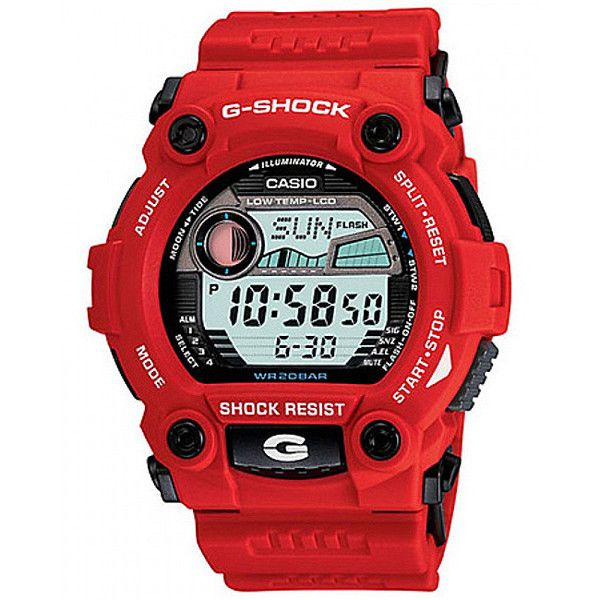 Casio Men's G-Shock 'Rescue' Red Digital Sport Watch (125 NZD) ❤ liked on Polyvore featuring men's fashion, men's jewelry, men's watches, grey, mens diamond bezel watches, g shock mens watches, mens digital watch, mens red watches and mens leather strap w