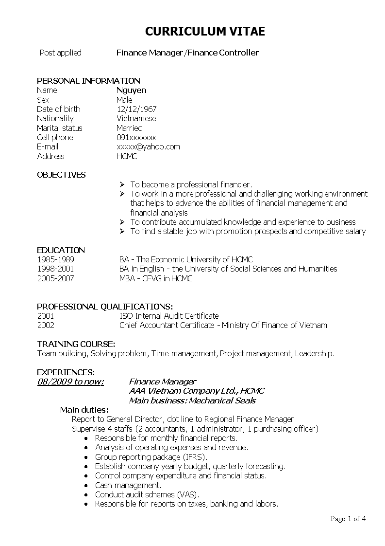 Finance Controller Resume How To Draft A Finance Controller Resume Download This Finance Controller Res Curriculum Vitae Examples Curriculum Vitae Financial
