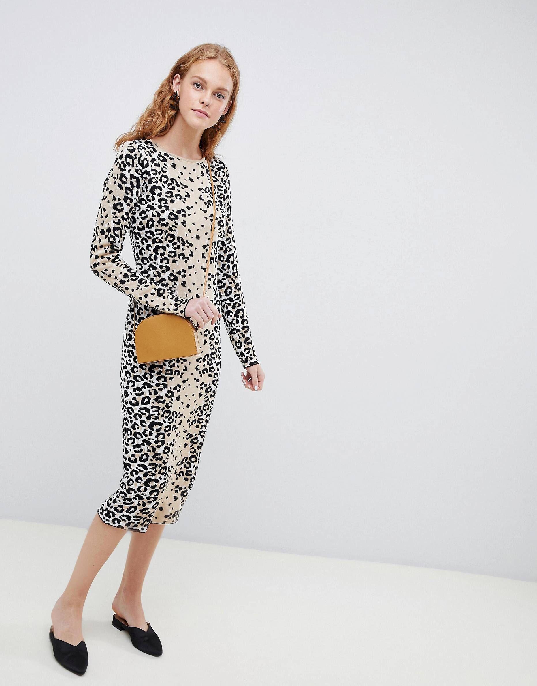 comprar En liquidación 60% barato Vestido de punto fino con diseño de leopardo de ASOS DESIGN ...