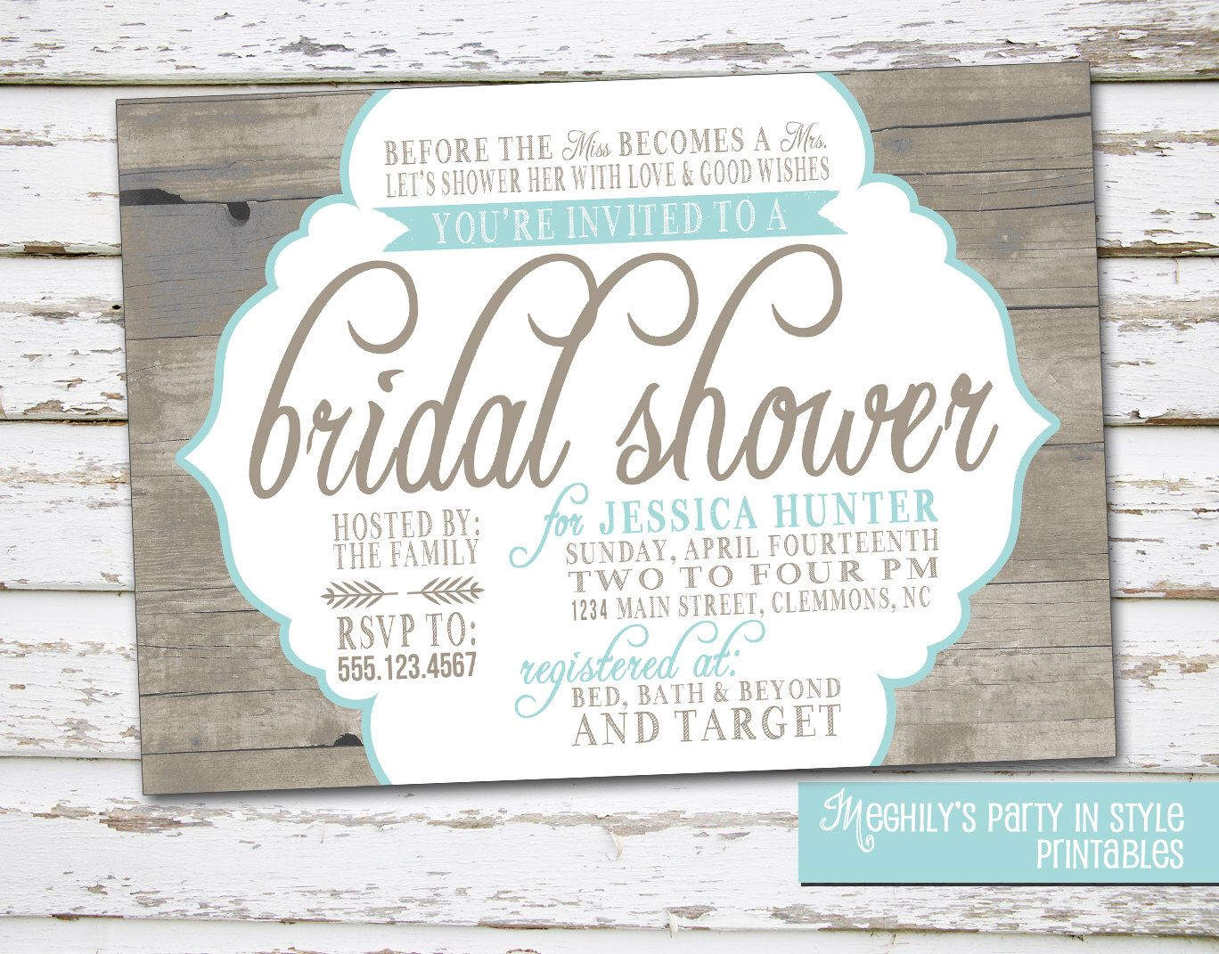Country / Rustic Theme Bridal Shower Invitation by Meghilys on Etsy ...