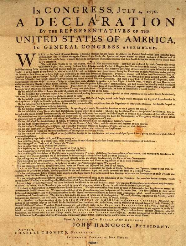 printable copy declaration independence and simple free