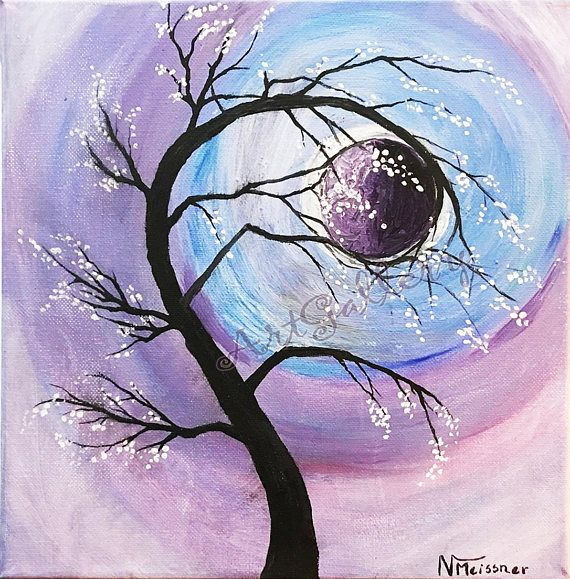 Cherry Blossom Tree Branches Moon Painting Purple Sky Painting Moon Painting Art